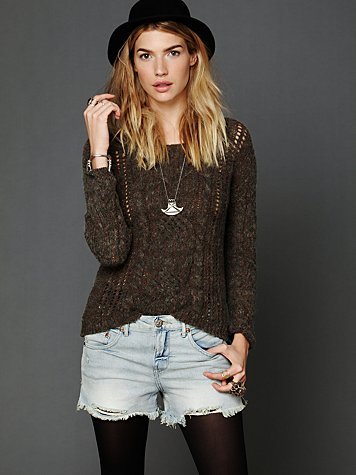 Free People Marled Cables Pullover