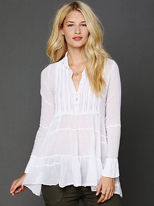 Free People FP One Tuxedo Tunic Blouse in tunics
