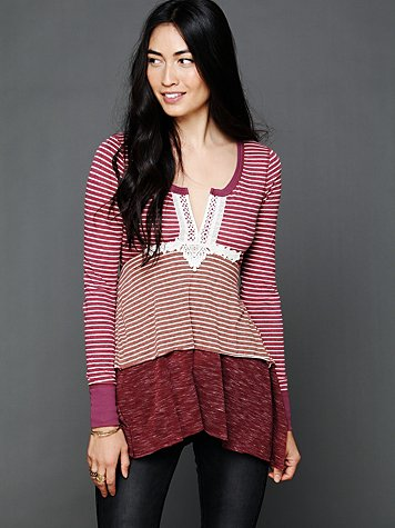 Free People Layered Stripes Long Sleeve Top