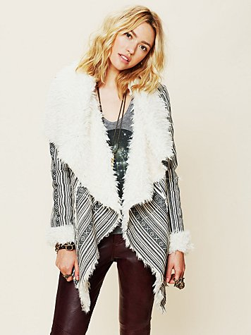 Heading South Striped Faux Fur Jacket