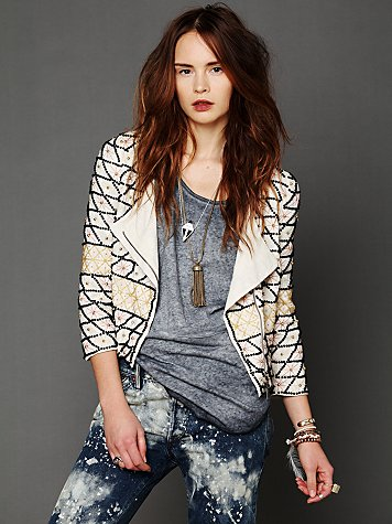 Free People Crossed Paths Beaded Jacket