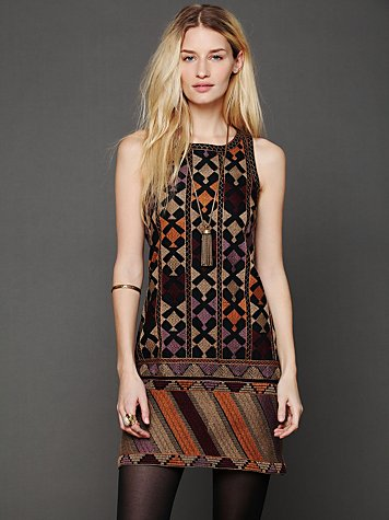 Free People Phulkari Embroidered Shift Dress
