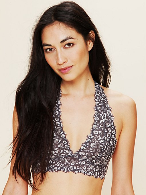 Intimately Leopard Printed Galloon Halter in Mesh-Bras