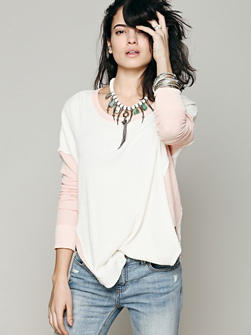 Free People We The Free Thriller Colorblock Thermal in knit-sweaters
