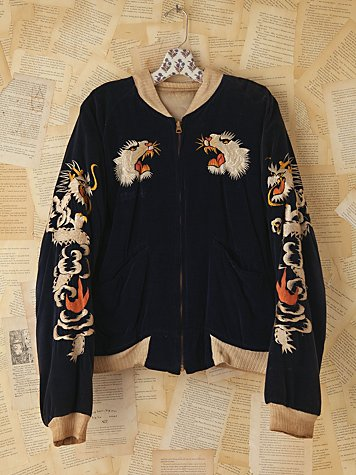 Vintage Reversible Embroidered Bomber Jacket