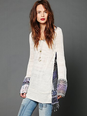 Free People Printed Fringe Tunic