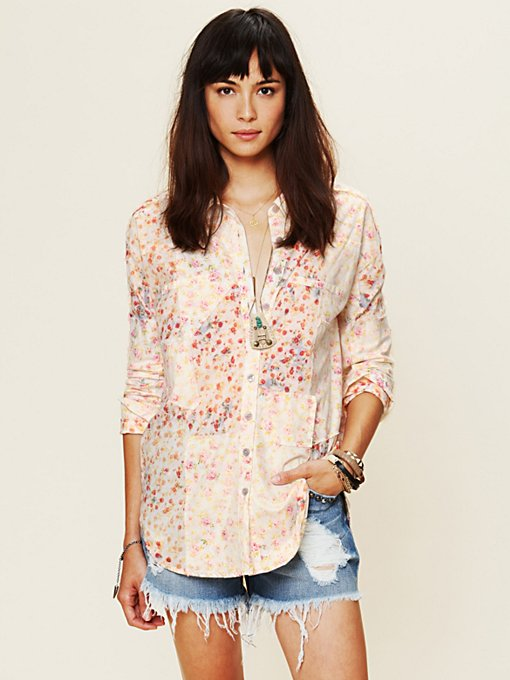 Bleached Floral Button Down