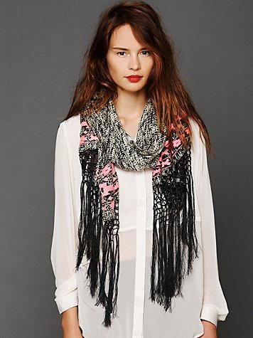 Free People Acid Wash Embroidered Scarf