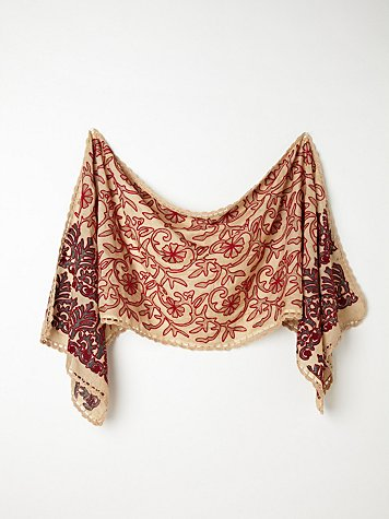 Embroidered Dahlia Scarf