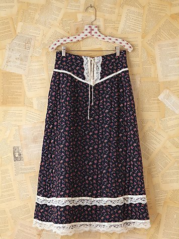 Free People Vintage Gunne Sax Quilted Floral Skirt