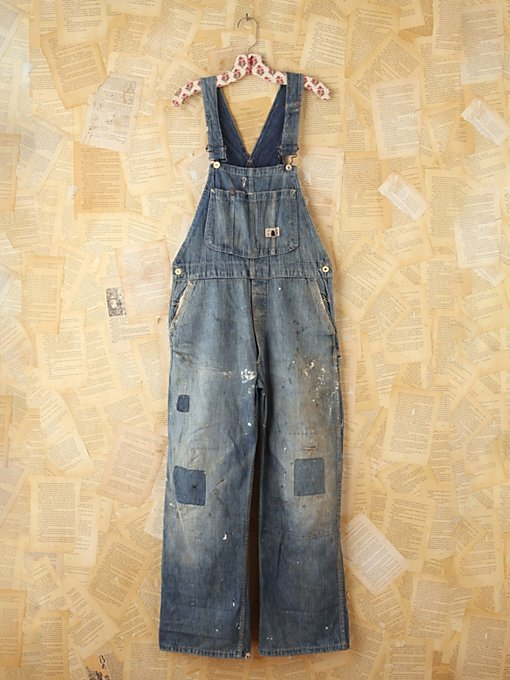 Free People Vintage 1940s Big Smith Patched Overalls in vintage-jeans