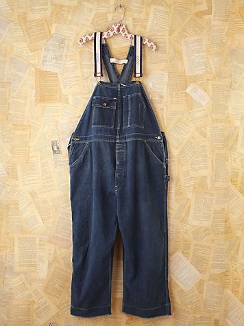 Free People Vintage White Buck Denim Overalls