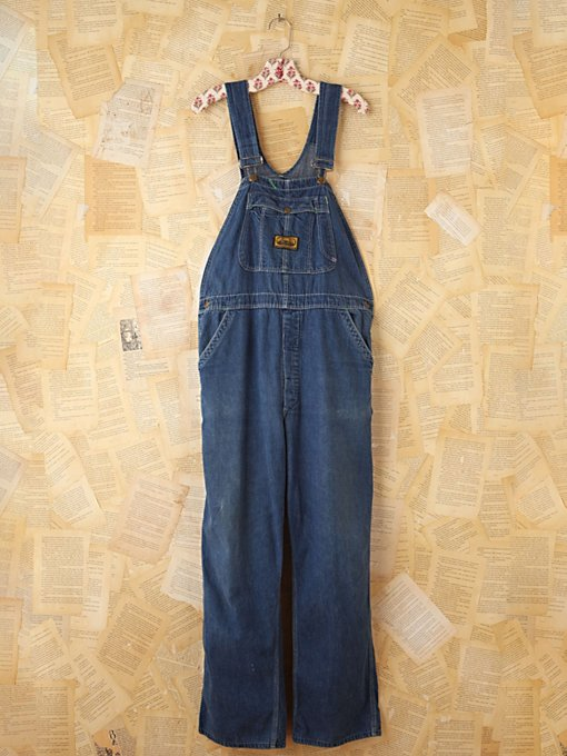 Free People Vintage Dee Cee Denim Overalls in vintage-jeans