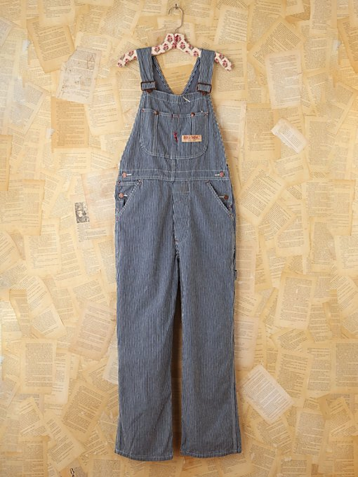 Free People Vintage Big Mac Striped Denim Overalls in vintage-jeans