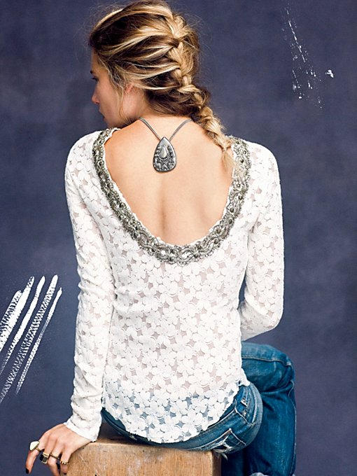 Lace Fancy Low Back Top