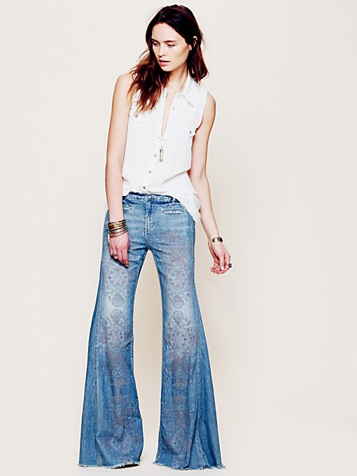 Free People Printed Extreme Vintage Flare in Jeans