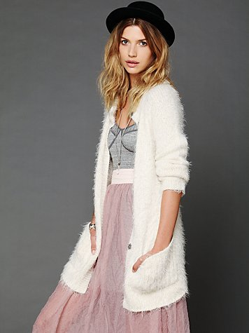Free People Keep It Fuzzy Cardigan  :  cozy holiday fuzzy white