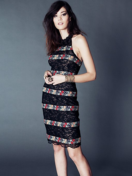 Free People Cross Stitch Lace Column Dress in Bodycon-Dresses