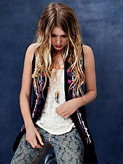 Directions In Embroidery Fringe Gilet