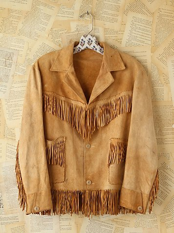 Free People Vintage Suede Fringe Jacket