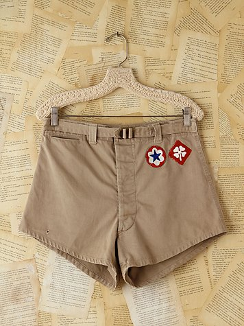 Free People Vintage Khaki High-Waisted Patched Shorts