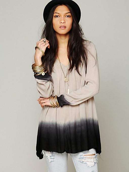 Free People Dip Dye Long Sleeve Tunic in sheer-blouses
