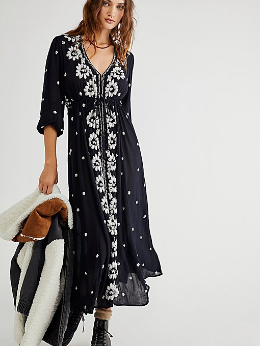 Free People Embroidered Fable Dress in black-maxi-dresses