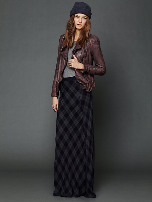 Cameron Plaid Maxi Skirt in clothes-skirts