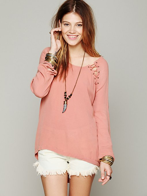 Lace Up Back Top in clothes-fp-exclusives-tops-sweaters