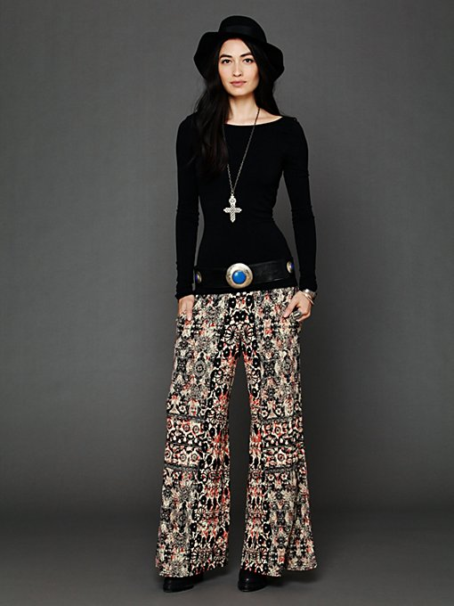 Printed Knit Wideleg in clothes-pants-wideleg-flare