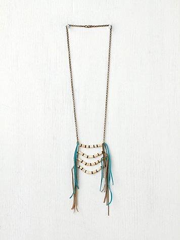 Bonnie Suede Fringe Breastplate Necklace