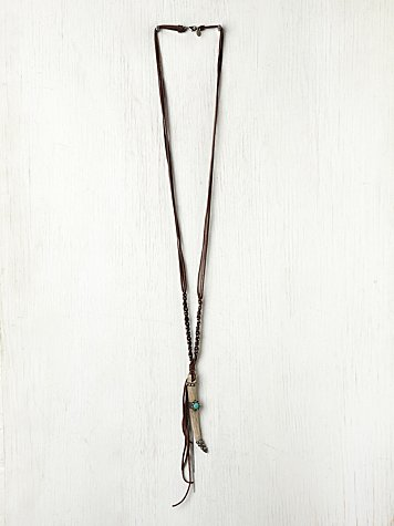 Gypsy Junkies Long Leather Horn Pendant