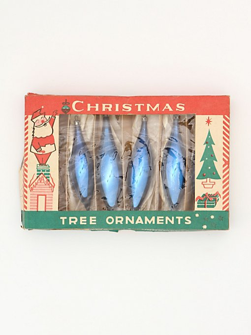 Vintage Set of Blue Glass Ornaments in vintage-loves-objects