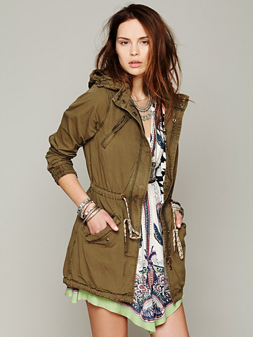 Green Parka in structured