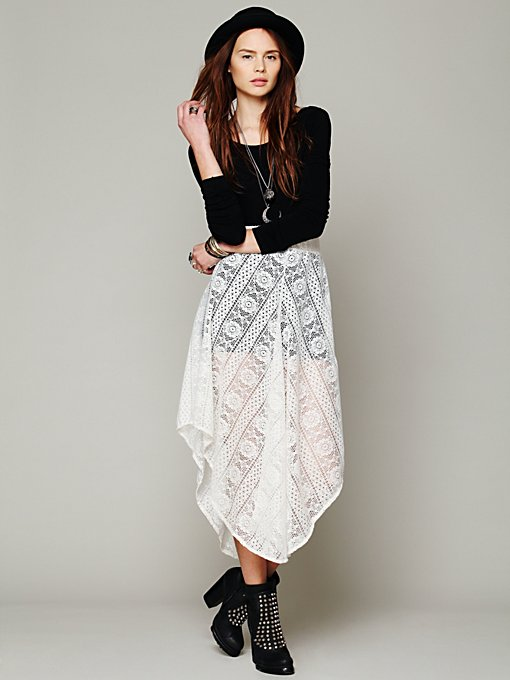 Lace Asymmetrical Skirt