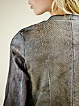 Ria Snake Print Leather Jacket