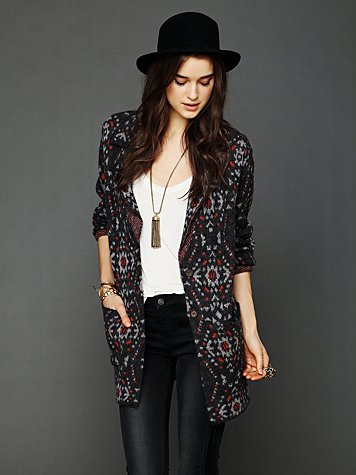 Free People Patterned Sweater Blazer