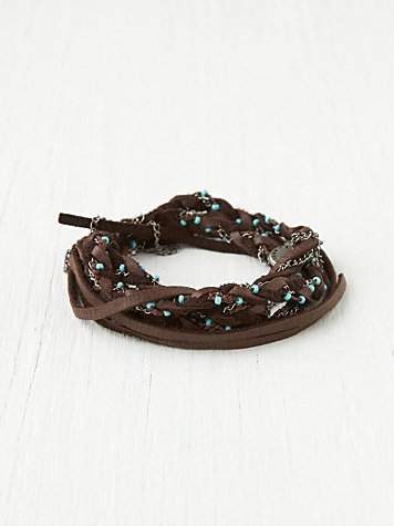 Leather Turquoise Wrap Headband