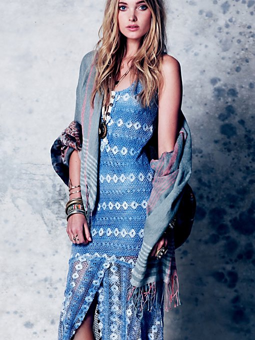 Free People Washed Out Textured Maxi in crochet-dresses