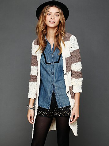 Free People Rugby Stripe Long Cardigan