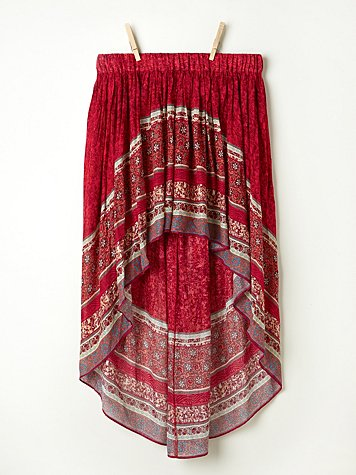 Border Print Highlow Slip Skirt