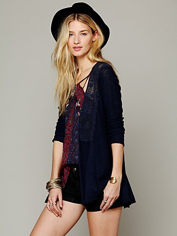 Free People Crochet Inset Cardigan