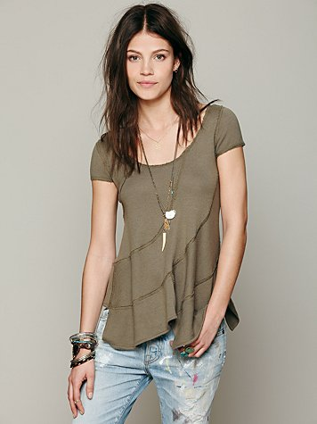 Free People Short Sleeved Seamed Pullover
