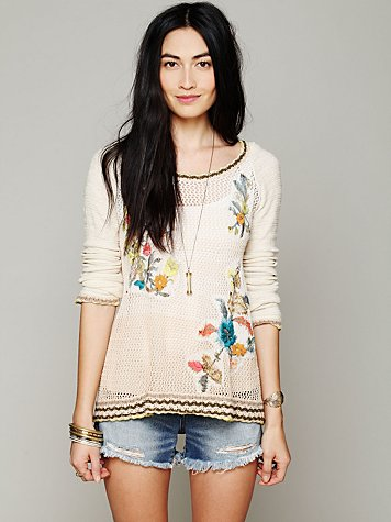 Free People Hooded Embroidered Pullover