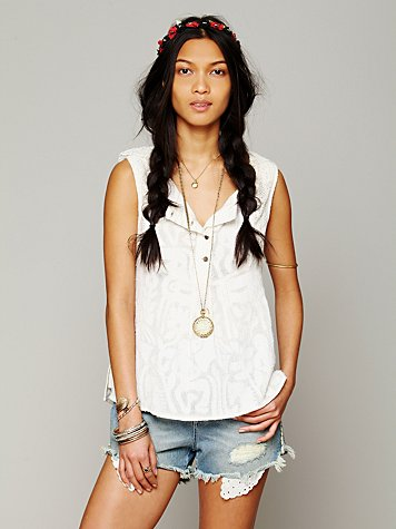 Free People FP New Romantic Sleeveless Texture Tank
