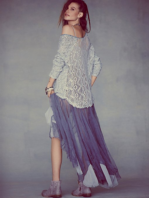 Free People Lace Back Oversized Pullover in knit-sweaters