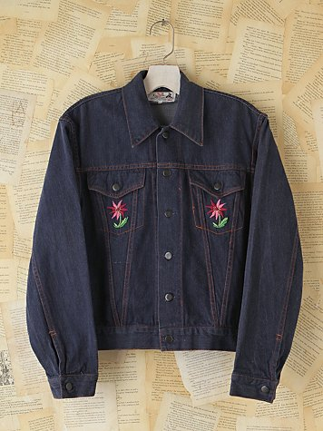 Free People Vintage Embroidered Denim Jacket