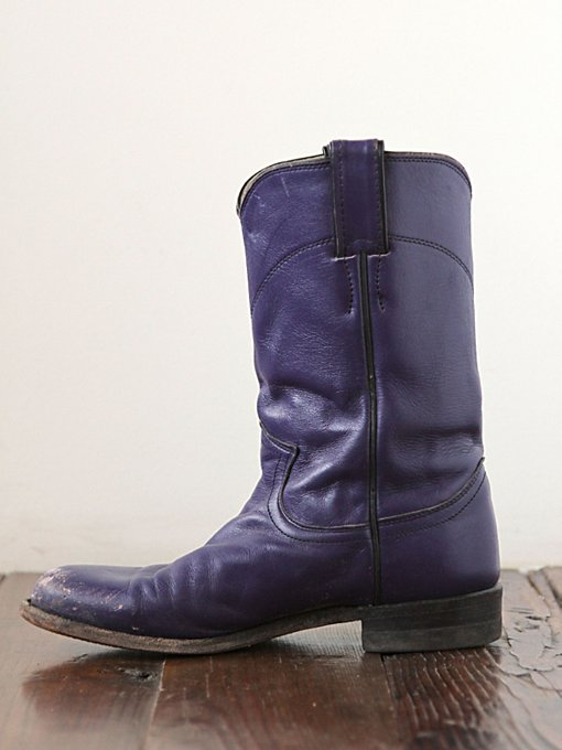 Free People Vintage Purple Leather Western Boots in vintage-shoes