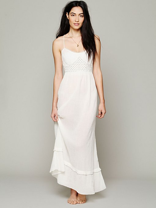 Intimately Smocked Gauze Sleep Dress in white-maxi-dresses