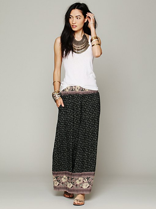 Border Print Smocked Wideleg in clothes-pants